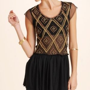 Free People Holiday India Beaded Sheer Tunic Top